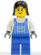 Minifig No: ovr033  Name: Overalls Striped Blue with Pocket, Blue Legs, Black Female Hair