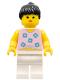Minifig No: par003  Name: Blue Flowers - White Legs, Black Ponytail Hair