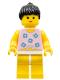 Minifig No: par004  Name: Blue Flowers - Yellow Legs, Black Ponytail Hair