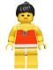 Minifig No: par009  Name: Red Halter Top - Yellow Legs, Black Ponytail Hair