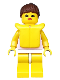 Minifig No: par010  Name: Red Dots on Pink Shirt - Yellow Legs, Brown Ponytail Hair, Life Jacket