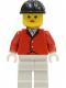 Minifig No: par012  Name: Red Riding Jacket - White Legs, Black Construction Helmet