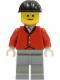 Minifig No: par013  Name: Red Riding Jacket - Light Gray Legs, Black Construction Helmet