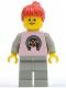 Minifig No: par015  Name: Horse Logo - Light Gray Legs, Red Ponytail Hair