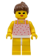 Minifig No: par017  Name: Red Dots on Pink Shirt - Yellow Legs, Brown Ponytail Hair, Open Mouth