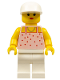 Minifig No: par018  Name: Red Dots on Pink Shirt - White Legs, White Cap