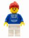 Minifig No: par024  Name: Jogging Suit - White Legs, Red Ponytail Hair