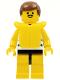 Minifig No: par025  Name: Horizontal Blue/White Stripes, Yellow Legs, Brown Male Hair, Life Jacket