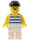 Minifig No: par026  Name: Horizontal Blue/White Stripes, White Legs, Black Construction Helmet