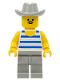 Minifig No: par028  Name: Horizontal Blue/White Stripes, Light Gray Legs, Light Gray Cowboy Hat