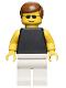 Minifig No: par035  Name: Plain Black Torso with Yellow Arms, White Legs, Sunglasses, Brown Male Hair