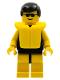Minifig No: par036  Name: Plain Black Torso with Yellow Arms, Yellow Legs, Sunglasses, Black Male Hair, Life Jacket