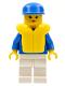 Minifig No: par045  Name: Jogging Suit - White Legs, Blue Cap, Life Jacket