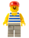 Minifig No: par047  Name: Horizontal Blue/White Stripes, Light Gray Legs, Red Cap