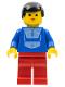 Minifig No: par048  Name: Jogging Suit - Red Legs, Black Male Hair