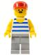 Minifig No: par056  Name: Horizontal Blue/White Stripes, Light Bluish Gray Legs, Red Cap