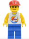 Minifig No: par057  Name: Surfboard on Ocean - Blue Legs, Red Cap