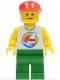 Minifig No: par060  Name: Surfboard on Ocean - Green Legs, Red Cap
