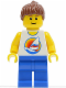Minifig No: par062  Name: Surfboard on Ocean - Blue Legs, Reddish Brown Ponytail Hair (4937)