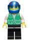 Minifig No: pck005  Name: Jacket Green with 2 Large Pockets - Black Legs, Blue Helmet 4 Stars & Stripes, Trans-Light Blue Visor