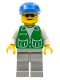 Minifig No: pck023  Name: Jacket Green with 2 Large Pockets - Light Gray Legs, Blue Cap