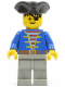 Minifig No: pi005  Name: Pirate Blue Jacket, Light Gray Legs, Black Pirate Triangle Hat