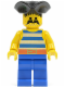 Minifig No: pi018  Name: Pirate Blue / White Stripes Shirt, Blue Legs, Black Pirate Triangle Hat