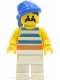 Minifig No: pi019  Name: Pirate Blue / White Stripes Shirt, White Legs, Blue Bandana