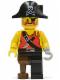 Minifig No: pi022  Name: Pirate Shirt with Knife, Black Leg with Peg Leg, Black Pirate Hat with Skull