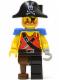 Minifig No: pi023  Name: Pirate Shirt with Knife, Black Leg with Peg Leg, Black Pirate Hat with Skull, Blue Epaulettes