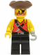 Minifig No: pi024  Name: Pirate Shirt with Knife, Black Legs, Brown Pirate Triangle Hat