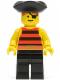 Minifig No: pi025  Name: Pirate Red / Black Stripes Shirt, Black Legs, Black Pirate Triangle Hat