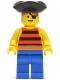 Minifig No: pi026  Name: Pirate Red / Black Stripes Shirt, Blue Legs, Black Pirate Triangle Hat