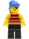 Minifig No: pi027  Name: Pirate Red / Black Stripes Shirt, Black Legs, Blue Bandana