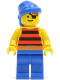 Minifig No: pi028  Name: Pirate Red / Black Stripes Shirt, Blue Legs, Blue Bandana