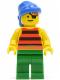Minifig No: pi029  Name: Pirate Red / Black Stripes Shirt, Green Legs, Blue Bandana
