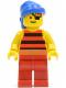 Minifig No: pi030  Name: Pirate Red / Black Stripes Shirt, Red Legs, Blue Bandana