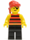 Minifig No: pi031  Name: Pirate Red / Black Stripes Shirt, Black Legs, Red Bandana