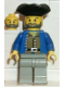 Minifig No: pi035  Name: Pirate Brown Shirt, Light Gray Legs, Black Pirate Triangle Hat