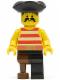 Minifig No: pi038  Name: Pirate Red / White Stripes Shirt, Black Leg with Peg Leg, Black Pirate Triangle Hat