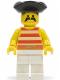 Minifig No: pi039  Name: Pirate Red / White Stripes Shirt, White Legs, Black Pirate Triangle Hat