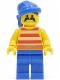 Minifig No: pi040  Name: Pirate Red / White Stripes Shirt, Blue Legs, Blue Bandana