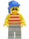 Minifig No: pi041  Name: Pirate Red / White Stripes Shirt, Light Gray Legs, Blue Bandana