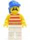 Minifig No: pi042  Name: Pirate Red / White Stripes Shirt, White Legs, Blue Bandana