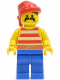 Minifig No: pi043  Name: Pirate Red / White Stripes Shirt, Blue Legs, Red Bandana