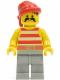 Minifig No: pi044  Name: Pirate Red / White Stripes Shirt, Light Gray Legs, Red Bandana