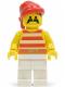 Minifig No: pi045  Name: Pirate Red / White Stripes Shirt, White Legs, Red Bandana