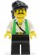 Minifig No: pi047  Name: Pirate Green Vest, Black Legs, Black Bandana