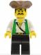 Minifig No: pi048  Name: Pirate Green Vest, Black Legs, Brown Pirate Triangle Hat