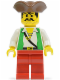 Minifig No: pi049  Name: Pirate Green Vest, Red Legs, Brown Pirate Triangle Hat